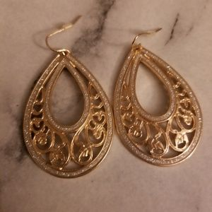 Gold Water Drop Statement Earrings